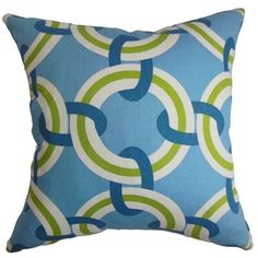 Katyin Geometric Blue and Green Down Filled Throw Pillow | Overstock.com Shopping - Great Deals on PILLOW COLLECTION INC Throw Pillows