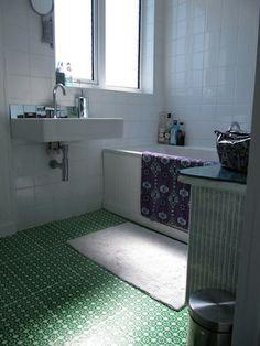 Use a Screenprinted Pattern Instead of Tile or Linoleum for Inexpensive Bathroom Floors