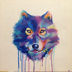 Beautiful multicolor acrylic wolf painting  by MeganPadovanoDesign, $175.00