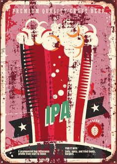 """Beer Styles IPA #Displate artwork by artist """"Mr. Jackpots"""". Part of a set featuring various craft beer styles. £35 / $50 (Medium), £71 / $100 (Large), £118 / $166 (XL) #Ale #Beer #Hefeweizen #IPA #Lager #Porter #Stout #Alcohol #Alcoholic #Beverage #Pub #Bar #CraftBeer #Brewer #Brewery"""
