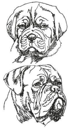 Advanced Embroidery Designs - French Mastiff Set (Dogue de Bordeaux)