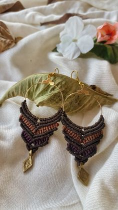 macrame earrings brown tribal earrings macrame by NarkisMacrame