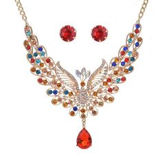2017 Hot sale Europe and the United States retro court color crystal Peacock Necklace Pendant Necklace Set Peacock Jewelry, Peacock Necklace, Rhinestone Necklace, Crystal Rhinestone, Necklace Set, Bridal Necklace, Women's Jewelry Sets, Pendant Jewelry, Women Jewelry