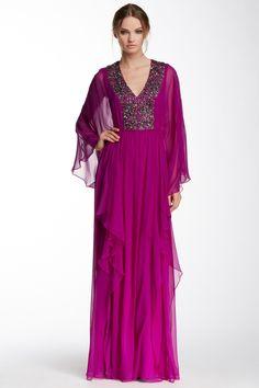 Marchesa Notte | V-Neck Kimono Sleeve Silk Gown | HauteLook