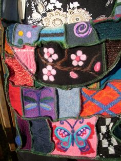 Patchwork Bag Needle Felted Denim Upcycled Sweater Wool Messenger Bag Purse Butterfly Heart