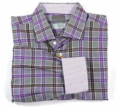 Men's THOMAS DEAN XL Lavender Colors Check FLIP CUFF Shirt NEW NWT Nice! $110+ #ThomasDean #ButtonFront