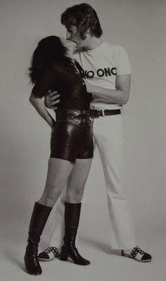 John Lennon & Yoko Ono   lovers   kiss   kissing   beatles break up   black & white   soul mates  
