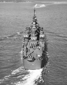 Baltimore class heavy cruiser USS Canberra at Boston in October 1943 - she commemorated the Australian cruiser sunk together with 3 US ones at the Battle of Savo Island in August 1942. Torpedoed in October 1944, she was not repaired until after the end of hostilities. She was not de-commissioned until 1978 after conversion to a guided missile cruiser.
