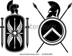 Romans And Spartan Coat Of Arms Stock Illustration - Illustration of past, shield: 49173654 Spartan Shield, Spartan Logo, Spartan Warrior, Shield Drawing, Helmet Drawing, Spartan Helmet Tattoo, Roman Sword, Shield Tattoo, Vignettes