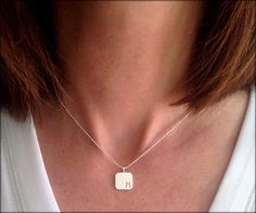 Rounded Sterling square with stamped offset initial. Simply and Stylish! Sterling Silver Initial Necklace, Mommy Necklace, Initial Charm, Hand Stamped, Initials, Stylish, Trending Outfits, Unique Jewelry, Handmade Gifts