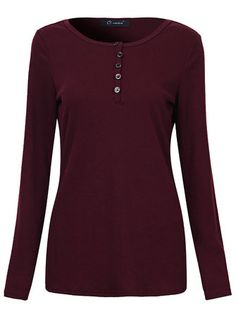 O-Newe Casual Women Pure Color O-Neck Button Long Sleeve Blouse