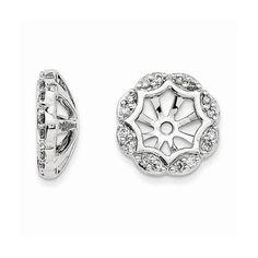 14K White Gold Diamond Earring Jackets