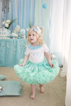 a Mermaid Birthday Party. Love these colors, but please no tutus.