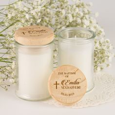 Jasmine Palm Wax Christening Candle with Wooden Lid