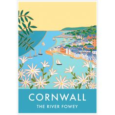 Vintage Style Seaside Travel Art Poster by Joanne Short of The River Fowey, Cornwall Fowey Cornwall, Cornwall England, Retro Poster, Poster Vintage, Seaside Art, Kunst Poster, Travel Illustration, Vintage Travel Posters, Travel Fashion