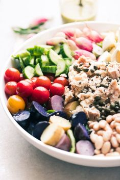 My Tossed Salad Niçoise with lemony tarragon dressing is a user friendly version of the French classic tuna platter and a healthy main course salad! #easy #healthy #dinner #recipe #salad #authentic #French #Mediterranean #cannedtuna #tuna