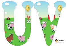 Alfabeto de la Granja. | Oh my Alfabetos! Alfabeto Animal, Sheep Pig, Farm Unit, Alice In Wonderland Party, Animal Alphabet, Farm Party, Animal Birthday, Art Clipart, Textile Patterns