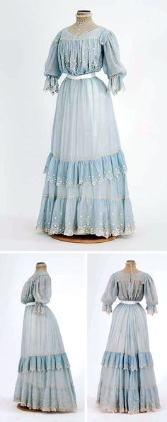 Blue lawn summer dress trimmed with pintucks, embroidery, & lace. Lined in white china silk. Old Dresses, Vintage Dresses, Vintage Outfits, Summer Dresses, 1900s Fashion, Edwardian Fashion, Vintage Fashion, Belle Epoque, Edwardian Gowns
