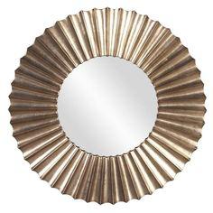 "Howard Elliott Olivia Silver Leaf Mirror 38.1/2"" Diameter x 1"""