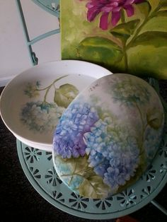 Blue Hydrangea Covered Box by PaintingsFromLiz on Etsy