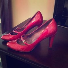 Via Spiga heels Gently used, red patent leather with Mary Jane like strap! Still beautiful with normal signs of wear. Via Spiga Shoes Heels