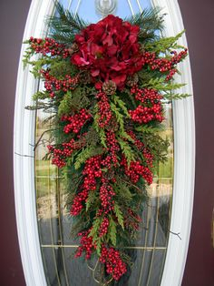 Red Roses and Berries Teardrop Christmas Wreath