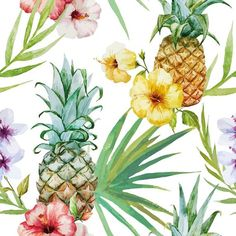 Beautiful Watercolor Vector Tropical Pattern With Pineapples. Royalty Free Cliparts, Vectors, And Stock Illustration. Pic Vector - Beautiful watercolor vector tropical pattern with pineapples and hibiscus Motif Tropical, Tropical Pattern, Tropical Flowers, Tropical Plants, Hibiscus Flowers, Tropical Leaves, Pineapple Wallpaper, Plant Vector, Pineapple Pattern