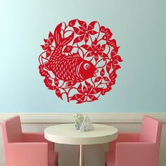 Fish Wall Decals Flower Decal Branch Vinyl Sticker by CozyDecal