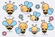 Premium Vector Clipart  Kawaii Bees  Cute Bees Clipart Set