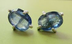 """Kyanite Claw Prong Earrings make for the perfect """"something blue""""!  These are also great for daily wear, matching denim well."""