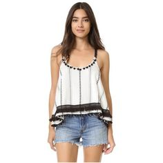 TULAROSA Wilder Cami Top ($99) ❤ liked on Polyvore featuring tops, ivory striped tribal, strappy crop top, white cami, criss-cross crop tops, white tank and cami tank tops