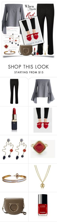 """""""Wear Red."""" by fashionaddict-9 ❤ liked on Polyvore featuring Roberto Cavalli, Chicwish, Clé de Peau Beauté, Free People, MANGO, Karen London and Salvatore Ferragamo"""