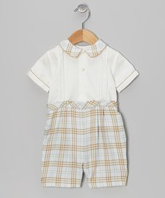 Take a look at this Blue & Khaki Plaid Tee & Shorts - Infant on zulily today!