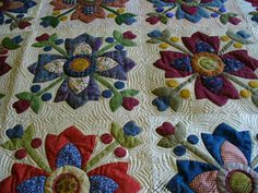 """I love this Kim Diehl' """"Country Whig Rose"""" design. I made 4-blocks wall-hanging from her book quilt"""
