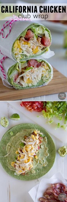chicken, mango, avocado and bacon are the stars in this easy California Club Chicken Wrap that is perfect for a weeknight.Shredded chicken, mango, avocado and bacon are the stars in this easy California Club Chicken Wrap that is perfect for a weeknight. Healthy Food Recipes, Healthy Snacks, Healthy Eating, Cooking Recipes, Yummy Food, Tasty, Healthy Lunch Wraps, Spinach Recipes, Flour Recipes
