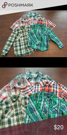Bundle Checkered Shirts Bundle includes five plaid button down shirts. Two long sleeve, three short sleeve. In great used condition, worn a couple times. All size medium in boys (8). Brands: Cherokee, Faded Glory. Smoke free home. Cherokee Shirts & Tops Button Down Shirts