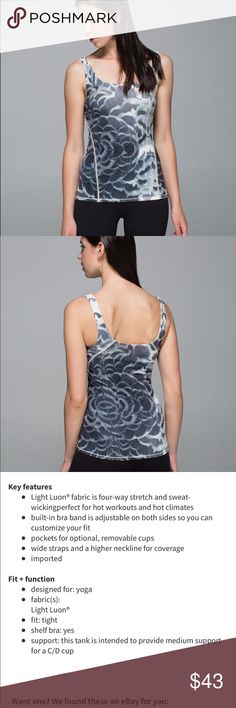 """Lululemon Amala Tank Lululemon Amala Tank  Pretty Plume Angel Wing   Black Size 8  """"The best yoga moments usually happen when our spirit is free... and our girls are in place. This tank has a tight fit and a supportive, built-in bra to ensure that the bottom stays down and the ladies stay up."""" Condition is perfect with no flaws or damages although rip tag has been removed lululemon athletica Tops Tank Tops"""