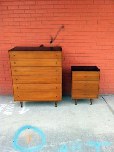 Mid Century Modern Wood Dresser and Nightstand by junk2funkbiz, $350.00