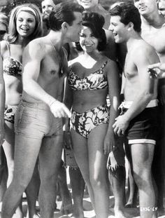 Thanks Jerry Schein for this pic of Frankie & Annette on the beach. Does anyone know who the guy on the left is?  I thought it was Fabian but the movie he made with Frankie & Annette was a drag racing movie and I don't recall any beach scenes.