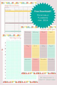 2014 Organiser -Free Download: budget planner, day/week organiser, Kayleigh Marie Gregory
