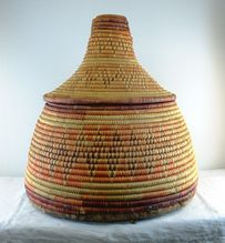 Large RARE Saudi Arabia ABHA Conical Bedouin Date BASKET ca 1970's Leather Base