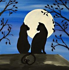 Diy canvas art 840625086677869215 - New Ideas For Painting Canvas Moon Silhouette Source by Silhouette Chat, Silhouette Painting, Animal Silhouette, Diy Canvas Art, Acrylic Painting Canvas, Watercolor Paintings, Canvas Ideas, Moon Painting, Art Tutorials