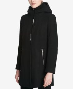 Calvin Klein Hooded Wool-Blend Walker Coat - Black XXL