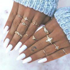 13 pcs ring set Europe and the United States retro opal crown diamond explosion star moon joint 13 1 Cute Acrylic Nails, Cute Nails, Pretty Nails, Acrylic Nail Designs, Aycrlic Nails, Hair And Nails, Coffin Nails, Toenails, Coffin Acrylics