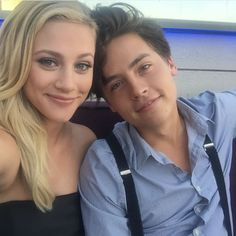"BUGHEAD! When Cole and Lili Reinhart (Betty) shared this Bughead selfie. | 27 Times The ""Riverdale"" Cast Were Completely Adorable IRL"