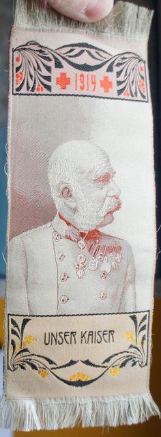 Silk Memento Kaiser Franz Josef World War One 1914 book mark Austro Hungarian