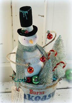 Christmas Decoration // Snowman // Vintage Style Christmas // Folk Art Christmas // Bottle Brush Tree // Vintage Tin // Mercury Glass