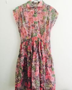 1950s-60s fizzy pink floral organza dress #fab.#vintage #vintagefashion #1950sfashion #1950sdress #1960sfashion #1960sdress #ヴィンテージ #ヴィンテージドレス #floral #floraldress