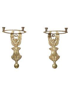 Pair of Bronze Figural Sconces