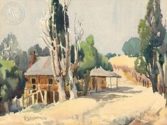 Fred Sersen - Country Home, 1935 – California Watercolor